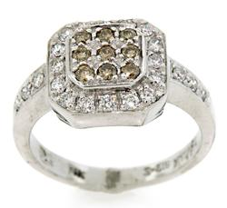 Brown & White Pave Diamond Ring