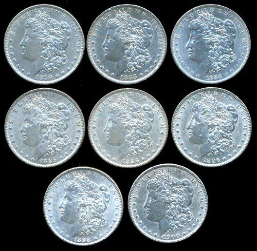 8 Diff. Morgan Silver Dollars in beautiful conditions.