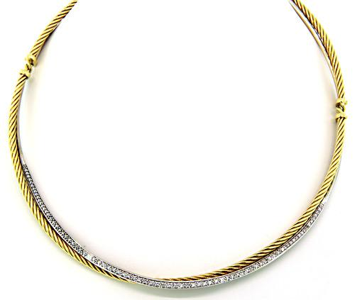 David Yurman Two Tone Cable Necklace with Diamonds