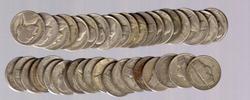 Roll of 40 P &D Mint Silver War Nickels