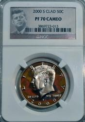 2000-S Kennedy Half Dollar in PF70 Cameo