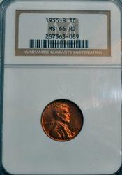 1936-S Lincoln Wheat Cent in NGC MS66RD