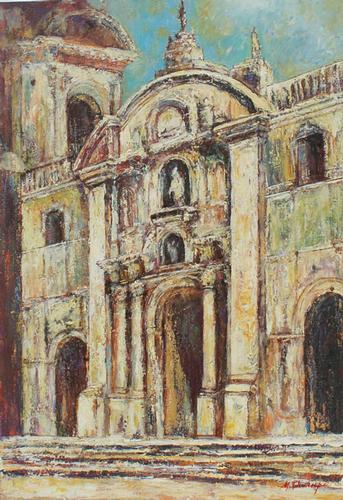 Beautiful Mario Champi Cathedral de Lima Original Oil
