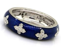 Hidalgo Blue Enamel Ring with Diamonds in 18K