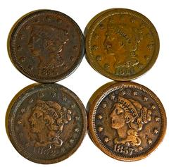 4 Large Cents 1845 1846 1852 and better date 1857