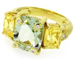 Judith Ripka Quartz Ring w/Crystals and Diamonds in18K