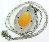 Early Sterling & Marcasites Cameo Pendant & Chain