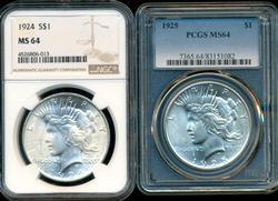 Nearly Gem BU 1924 & 1925 Peace Dollar. NGC & PCGS MS64