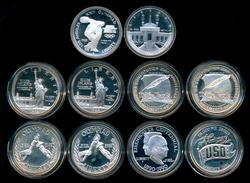 10 Mixed Gem Proof Modern Silver Commem $1. Capsules