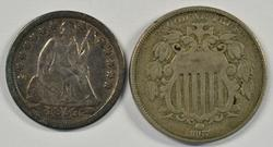 1867 Shield Nickel & 1853 Arrows Liberty Seated Dime