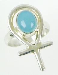 Large Sterling Ankh Ring with Chalcedony
