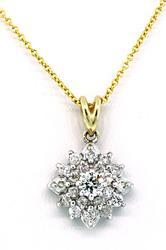 Two Tone Diamond Star Cluster Pendant Necklace