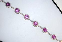18kt Rose Gold, Pink Sapphire and Diamond Bracelet