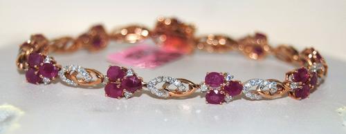 Splendid 7+ctw Ruby & Diamond Bracelet in 14kt Gold