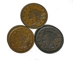 1838 1847 and 1851 Large Cents