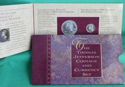 1993 Jefferson Coinage & Currency Set. Original Package