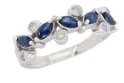 3/4 CTW Diamond and Blue Sapphire Ring