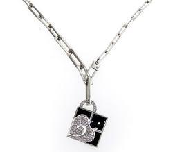 La Nouvelle Bague Black Enamel & Diamond Necklace