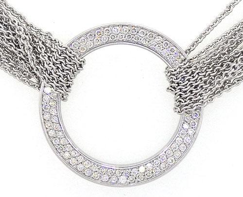 Movado Diamond Circle Necklace w/Multi Strand Chain 18K