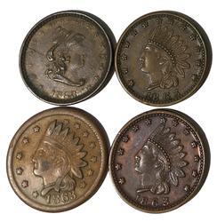4 1863 Civil War Tokens
