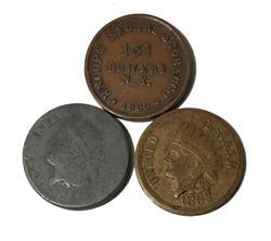 3 Different Metals Lead Brass Copper New York 1863 Civil War Tokens