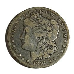 1891 CC Raw Morgan Dollar