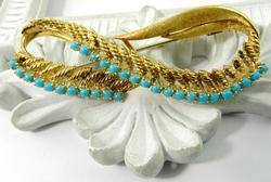 Vintage Turquoise Brooch, 18K