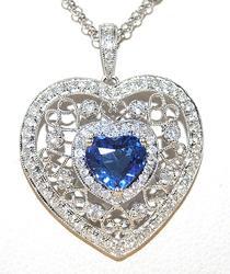 Very Detailed 2+ctw Sapphire & Diamond Heart Pendant