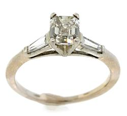 Gorgeous Emerald Cut Diamond White Gold Ring