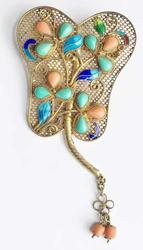 Early 2oth Century, Turquoise, Coral, Enamel on Filigree 'Butterfly' Brooch