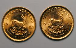 Pair of 1982 BU 1/4oz South African Krugerrands