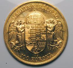 1908 100 Korona Gold Coin, Restrike Hungary