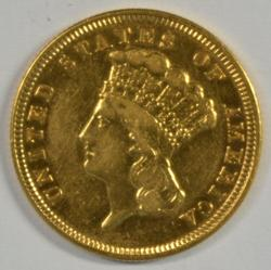 Real Flashy 1854 US $3 Gold Piece. Rare