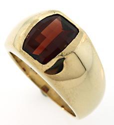 Fancy Cut Garnet Ring For Gents, 14kt Gold