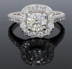 Signed Diamond Halo Engagement Ring