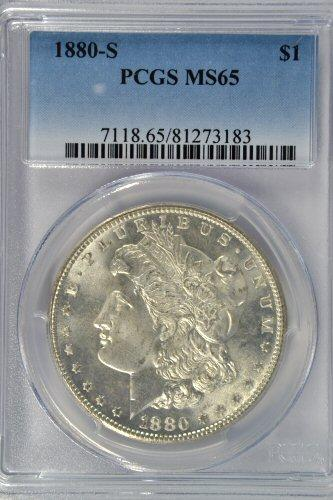 Solid Gem BU 1880-S Morgan Silver Dollar. PCGS MS65