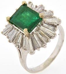 2+ CT Emerald & 2+CTW Diamond Ring