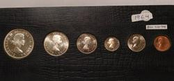 1964 Canada Mint Set, Holder, six piece Sil set