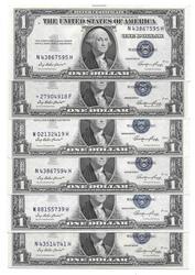 Lot of 6 CU or Crisp CU $1 Silver Certificates