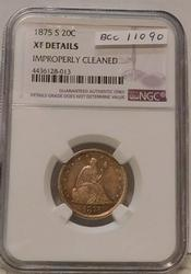 1875-S Twenty Cent Piece, NGC XF Details, cleaned