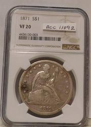 1871 Seated Liberty Dollar, NGC VF-20