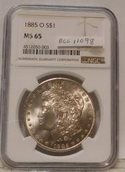 1885-O Morgan Dollar NGC full Gem MS-65, nice tone
