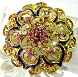 Ornate Ruby Pendant and Brooch