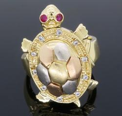Unique 14K Gold Diamond & Ruby Turtle Ring
