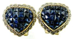 Nicely Designed Sapphire & Diamond 18K Heart Earrings
