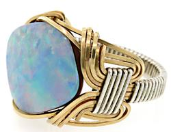 Rare Vintage Opal in Sterling and Gold Fill Ring