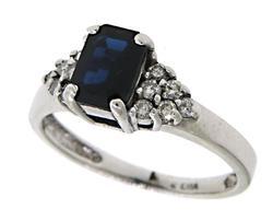 Diamond & Emerald Cut Sapphire Ring