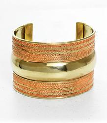 Beautiful Gold Tone and Orange Color Cuff Bracelet