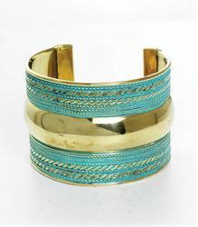 Beautiful Gold Tone and Blue Color Cuff Bracelet