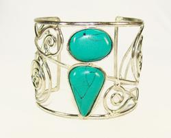 Fashionable Gemstone Silver Tone Artisan Cuff Bracelet